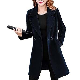 Fulision Women's Autumn Winter Lapel Long Sleeve Slim Fit Solid Color Casual Fashion Coat Black