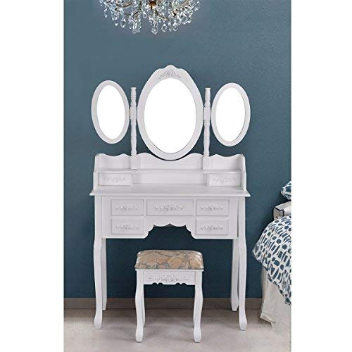 Homycasa Vanity Table Set with Folding Oval Mirror Makeup Dressing Table 7 Drawers and Cushioned Stool,White
