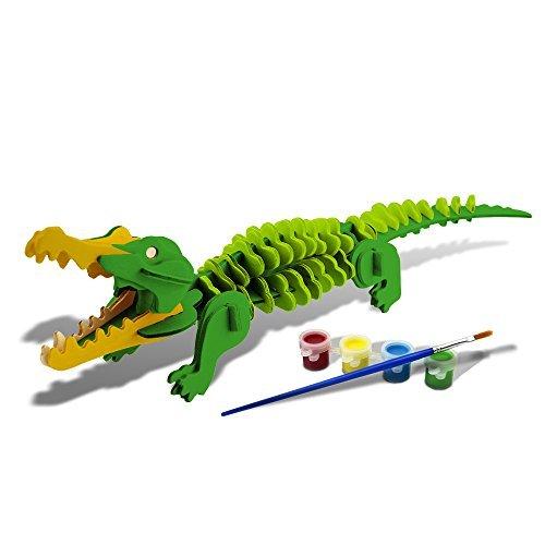 Bfun Woodcraft 3D Puzzle Assemble and Paint DIY Toy Kit, Crocodile