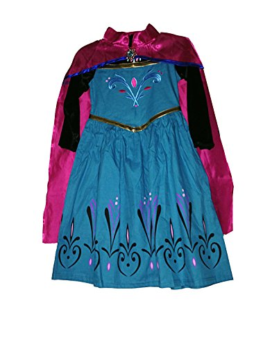 Girl's Frozen Elsa Coronation dress Pretend Play dress Costume (6-7 Years, Blue) (Disney Princess Girls Cinderella Classic Costume)
