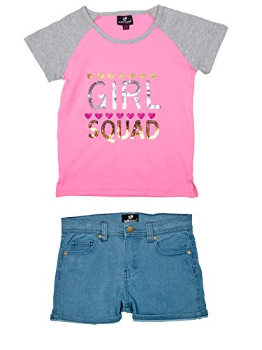 dollhouse Girls' Comfy 2-Piece Summer Outfit with Denim Shorts and Knit Top, Pink Girl Squad, Size 10/12'