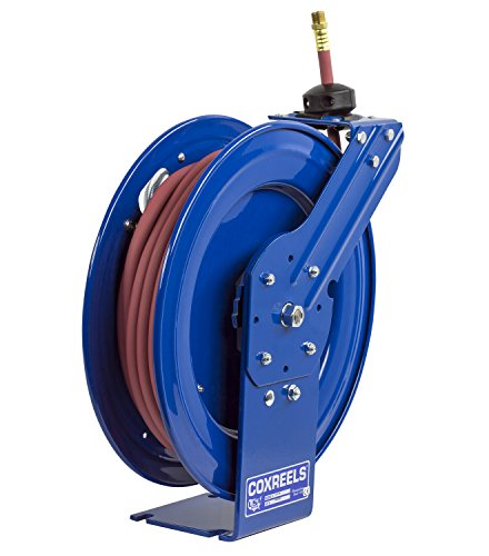 "Coxreels P-LP-350 Low Pressure Retractable Air/Water Hose Reel: 3/8"" I.D., 50' Hose Capacity, with hose, 300 PSI, Made in USA"