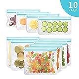 [10 Pack] Reusable Sandwich & Snacks Bags, Reusable Ziploc Storage Bags Freezer Safe, Extra Thick PEVA Material...