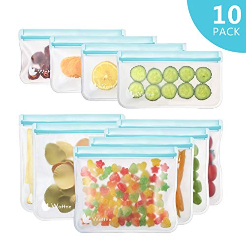 [10 Pack] Reusable Sandwich & Snacks Bags, Reusable Ziploc Storage Bags Freezer Safe, Extra Thick PEVA Material BPA/Plastic Free Bags for Lunch, Snacks, Toiletries, Make-up (Eco Friendly Reusable Bags)