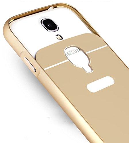 Sunnycase® Samsung Galaxy S4 I9500 Brillante Alta Calidad Funda PC Aluminio material carcasa Oro Metal Mirror Bumper phone case Hard Cover with Frame caja del teléfono Protectora cáscara chic marco +  B-Plata