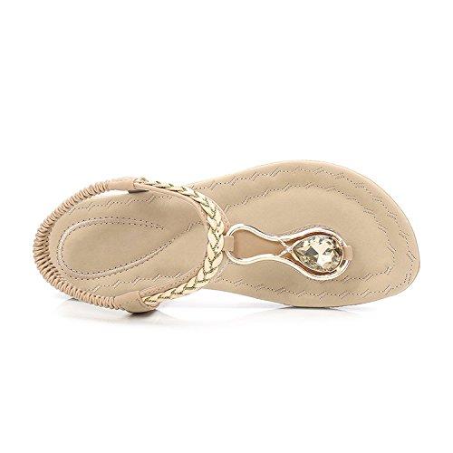 Plats Sandales Été Frestepvie Plates Ville Chaussure à Compensés Tong Vacances Abricot Femme de Confortable Flip Chaussures Talons Flops Plage zRdqwYR
