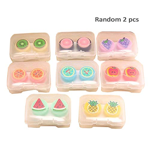 2 pcs Cute Fruit Contact Travel Kit Portable Contact Lens Case Container Holder Storage Box Eye Care Kit