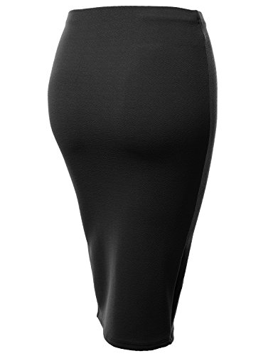 J.TOMSON Womens Basic Semi Formal Front Slit Fitted Pencil Midi Skirt BLACK 2XL