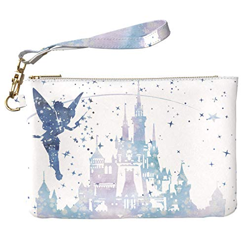 Lex Altern Makeup Bag 9.5 x 6 inch Tinkerbell Magic Fairy Cute Blue Castle Design Print Purse Pouch Cosmetic Travel PU Leather Case Toiletry Women Zipper Bathroom Wristband Girly - Tinkerbell Castle