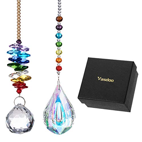 (Vasdoo Glass Crystal Ball Prism Pendant Suncatcher Rainbow Maker for Window,Office,Garden Decoration with Gift Box, Pack of 2 )