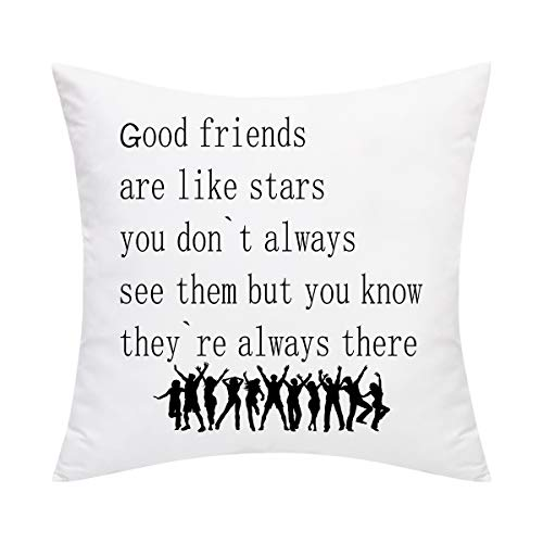 Friends Pillow Good - BLEUM CADE Best Gifts to Friends Sisters Throw Pillow Cover Good Friends Pillow Covers Decorative Pillowcase for Graduation Season Sofa Couch Bed Car and Office