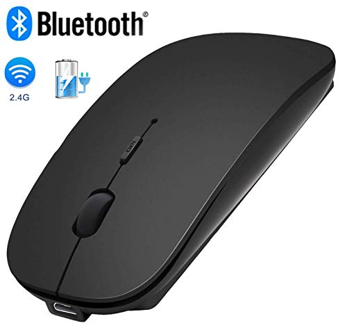 Bluetooth Wireless Mouse,WISAGI 2.4GHz Rechargeable Dual Mode Slim Wireless Mouse Silent USB Mice,3 Adjustable DPI,Compatible with Notebook, PC, Laptop, Computer, MacBook, Desktop