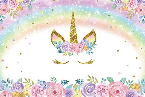 DaShan 48x32inch Unicorn Photography Props Golden Horn Shiny Lights Polyester for Newborn Kids Photography Wedding Holiday Birthday Party TV Video