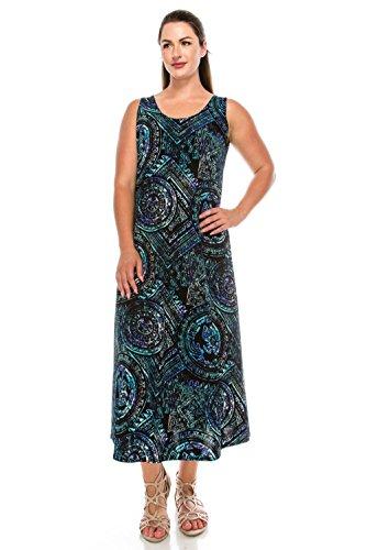 (Jostar Women's Stretchy Long Tank Dress Print Small Royal Abstract)