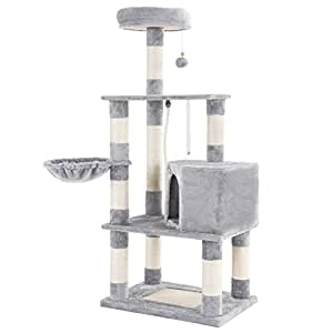 """SONGMICS Cat Tree Condo Tower with Scratching Posts Kitten Furniture Play House Light Grey 58"""" UPCT60H"""