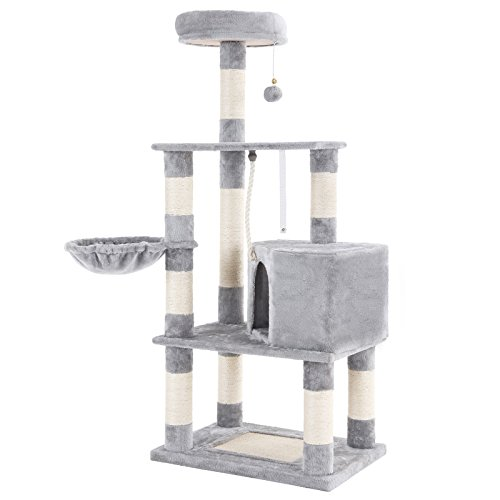 SONGMICS Cat Tree Condo Tower with Scratching Posts Kitten Furniture Play House Light Grey UPCT60H