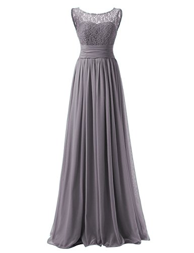 - Bridesmaid Dresses Long Evening Gowns Chiffon Wedding Party Formal Dress Lace Bodice Maxi US 16W Grey