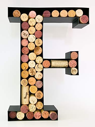 Wine Cork Holder - Metal Monogram Letter (A-Z) (Letter F)]()