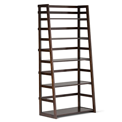 Simpli Home Acadian Solid Wood Ladder Shelf Bookcase, Rich T