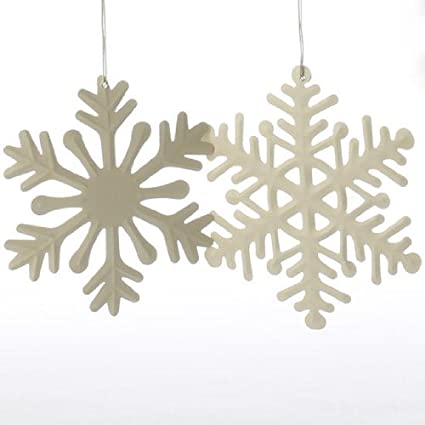 6 assorted design winter white painted metal snowflake ornaments for christmas holiday decorating - Metal Christmas Decorations