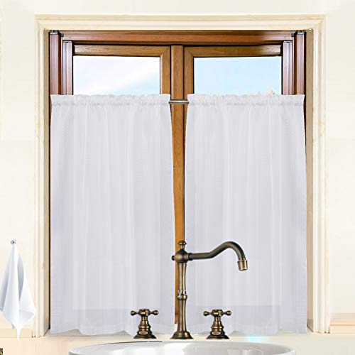 Valea Home Waffle Weave Textured Short Curtains for Bathroom Half Window Striped Tier Curtains for Kitchen Water Repellent Window Covering, 36x 45 inches, White, Set of 2 (For Bathroom Curtains Tier)