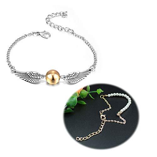 Sundear 2Pcs Golden Bead Angel Wings Dove Peace Bracelet for Women