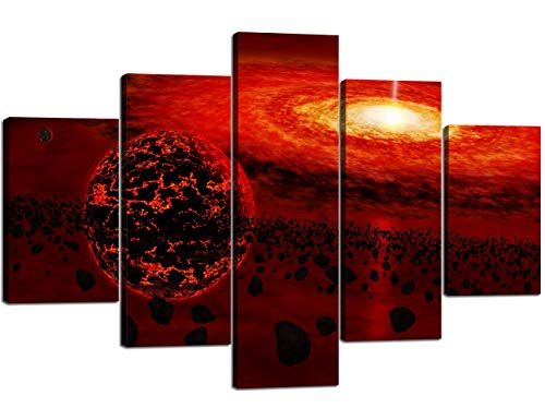 Black Red Extra Large Painting on Canvas Rocks Floating Around Planet Earth Wall Art 5 Piece Universe Artwork Pictures Print For Home Decor Framed for Living Room Stretched Ready to Hang(60''Wx40''H) ()