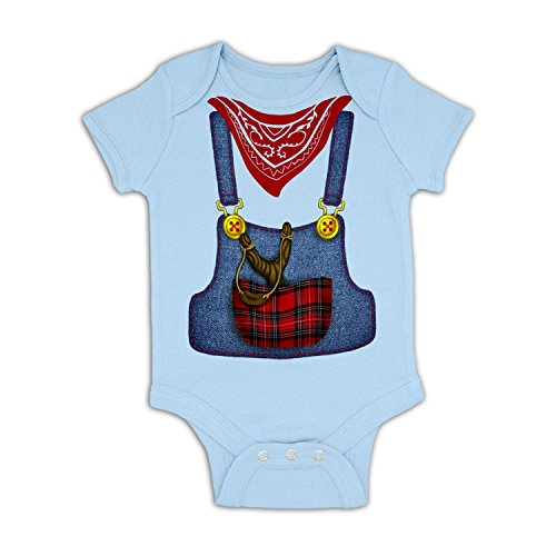 [Hillbilly Costume Baby Grow - Baby Blue 6-12 Months] (Hillbilly Kids Costume)