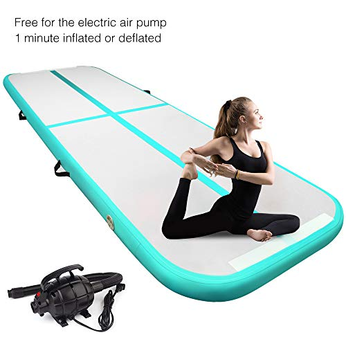 Yoleo 9.84ft Air Track Gymnastics, Inflatable Tumbling Mat Airtrack Floor with Electric Air Pump for Home Exercise, Beach, Martial Arts