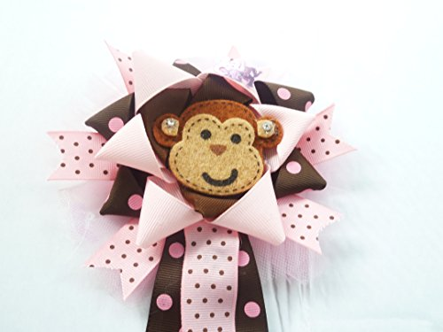 Mod Mommy Monkey Girl Baby Shower Themed Polka Dot Safari Zoo Jungle Baby Shower Theme Monkey Birthday Corsage for Mom Baby Shower Corsage (Pink and Brown -Monkey) (Mod Mom Theme)
