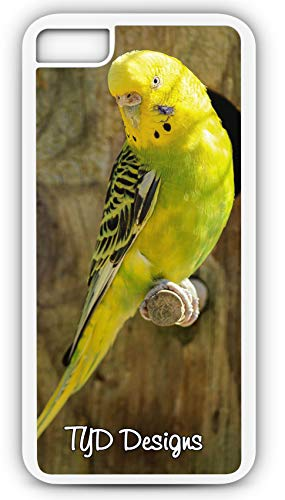 iPhone 7 Plus 7+ Case Yellow Parakeet Bird Parrot Pet Cage Fly Sing Customizable by TYD Designs in White Plastic