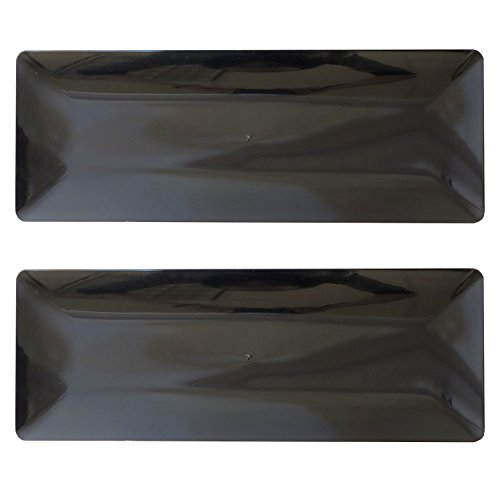 Party Essentials Hard Plastic Sleek Appetizer/Serving Trays Children's Party Tableware, Black, 2-Count Black Sushi Tray