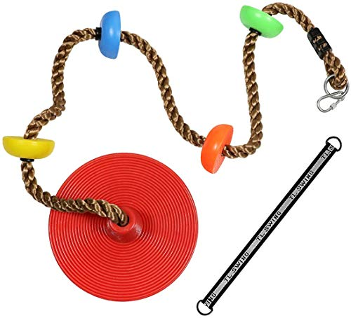 Newtion Multicolor Tree Swing Climbing Rope with Connect Strap & Carabiners Platforms Disc Swings Seat Adjustable Swing Set for Kids Adults Outdoor Tree Backyard Playground Swing