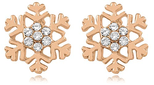 Rose Gold Tone Snowflake Stud Earrings Christmas Winter Bridal Fashion Jewelry Gifts, Stocking Stuffer Ideas for Girls, Teens and Women (Rose Gold Tone)