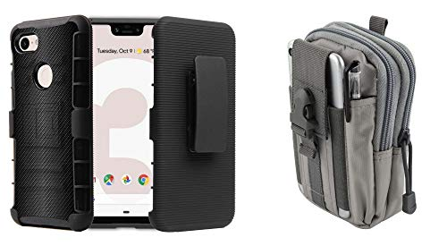 BC Rugged Series Compatible with Google Pixel 3 XL Case Bundle with Heavy Duty Armor Cover with Belt Clip Holster (Dark Carbon Fiber), Travel Carrying Pouch (Gray) and Atom Cloth
