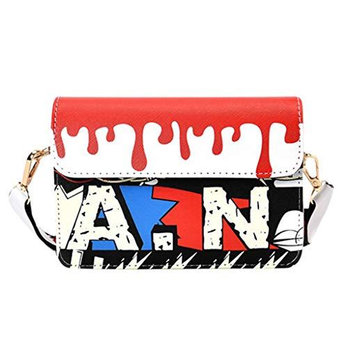Wobuoke Women Graffiti Printed Small Square Bag Shoulder Messenger Bag