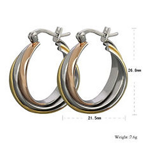 - YD Jewels - One Pair Chic Fashion Women's Heavy Stainless Steel Elegant Ear Hoop Earrings