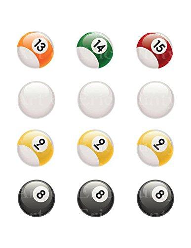1/2 Sheet - Pool Balls 13 to 15 Cue 9 & 8 Balls Birthday - E