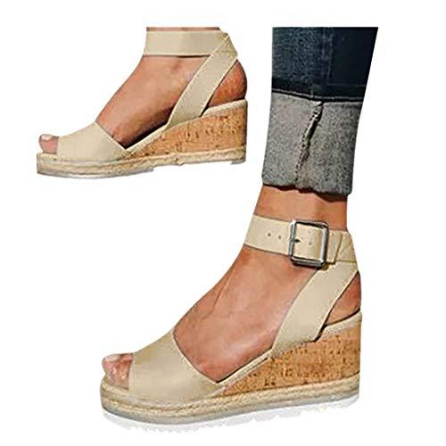 Cenglings Wedges Shoes,Womens Open Toe One Band Ankle Strap Platform Sandals Buckle Espadrilles Ladies Roman Sandals Gold