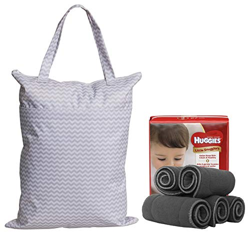 Large Zippered Hanging Wet Dry Bag with Snap Tote Handle for Reusable Cloth Diapers, Swimsuits, Laundry, Gym (Grey Chevron + Owl) by Sleeping Lamb (Image #3)