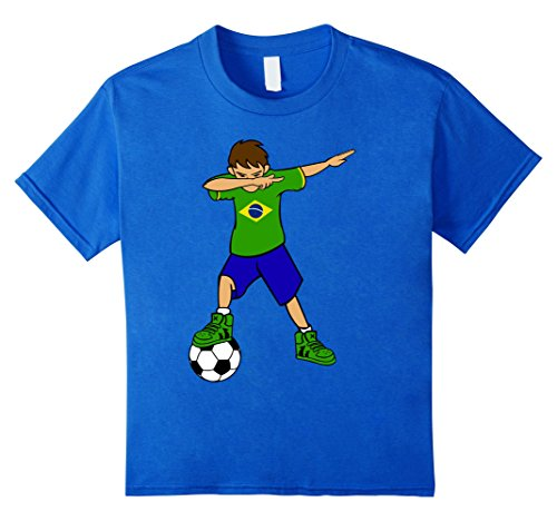 Kids Dabbing Soccer Boy T Shirt | Brazil Brazilian Football Boys 12 Royal - Football Shirts Brazil