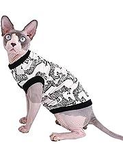 Sphynx Hairless Cat Cute Breathable Summer Cotton T-Shirts Zebra Pattern Pet Clothes,Round Collar Vest Kitten Shirts Sleeveless, Cats & Small Dogs Apparel (XL (8.8-11 lbs), Zebra)