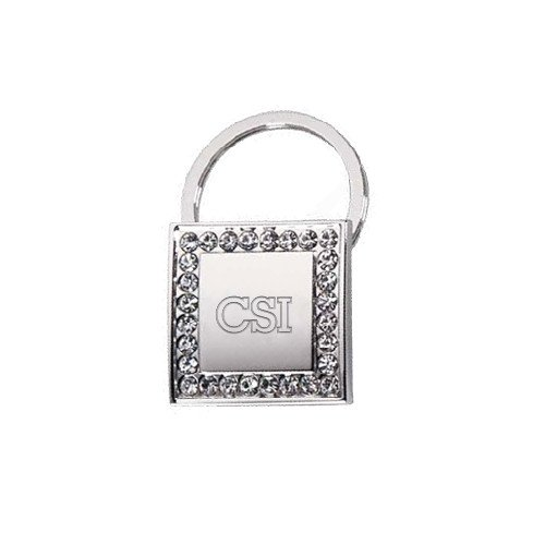 College of Staten Island Crystal Studded Square Key Holder 'CSI Engraved'