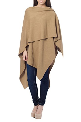 NOVICA Brown Peruvian Alpaca Wool Blend Wrap, 'Serenity' (One Size Fits Most)