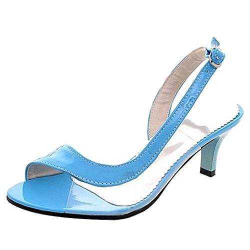 SJJH Sandals with Kitten Heel and Open Toe Working Sandals for Office Ladies Blue