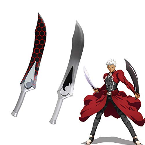 Yongli Sword Fate Grand Order Fate Stay Night Archer Emiya Cosplay Anime Game Carbon Steel Sword (Red and White)