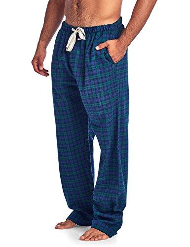 4550325a96 Ashford   Brooks Mens Super Soft Flannel Plaid Pajama Sleep Pants - Green  Blue - X-Large - Buy Online in Oman.