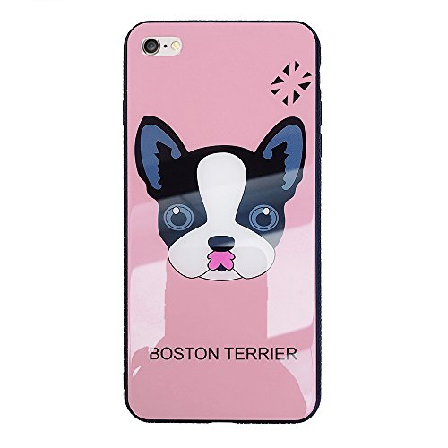 iPhone 6 Case, iPhone 6S Case, Winbang Boston Terrier Puppy Dog Face Pattern Tempered Glass Transparent Backboard Shell with Soft TPU Cover Case Anti-shock(Pink)