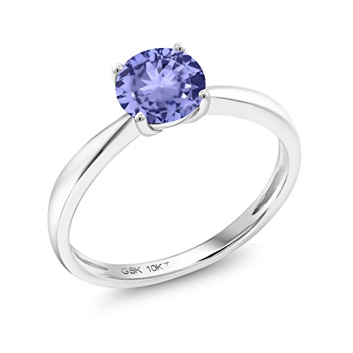 Gem Stone King 0.90 Ct Round Blue Tanzanite 10K White Gold Solitaire Ring (Size 5)