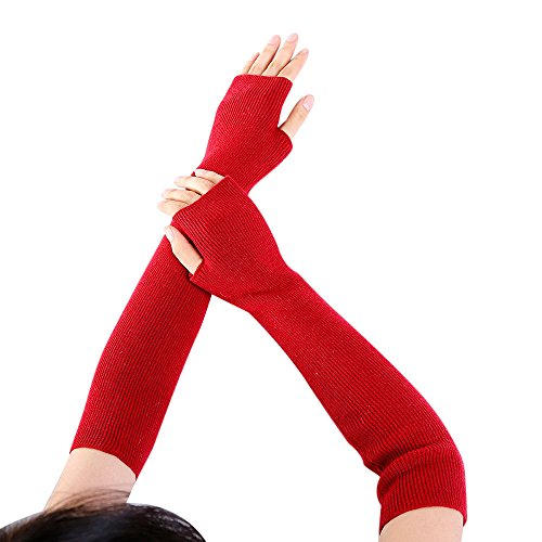 - NRUTUP Women Arm Warmer Solid Cashmere Knitted Soft Long Fingerless Gloves Mitten (Red,Free Size)